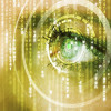 Stockfresh 3323464 Modern Cyber Woman With Matrix Eye Math