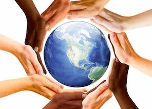 Multiracial Human Hands and Earth Planet. North America Continent View.